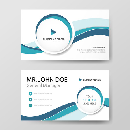 Blue circle corporate business card, name card template ,horizontal simple clean layout design template , Business banner template