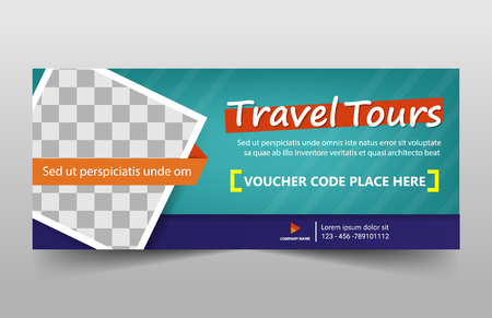 Travel tour corporate business banner template, horizontal advertising business banner layout template sign set , clean abstract cover header background for website design