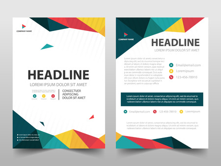 Colorful polygonal annual report Brochure design template vector. Business Flyers magazine poster.Abstract layout template ,Book Cover presentation portfolio.