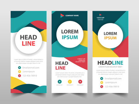 Colorful business Roll Up Banner flat design template ,Abstract Geometric banner template Vector illustration set, abstract presentation brochure flyer template vertical vector