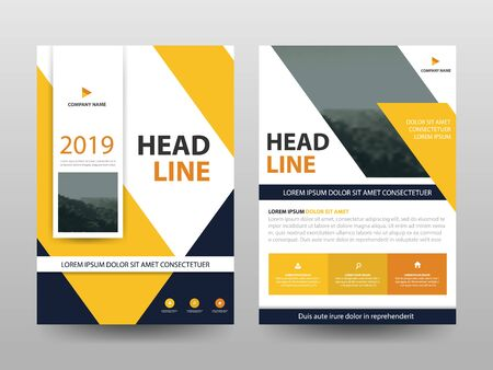 Yellow abstract flyer annual report Brochure design template vector. Business Flyers infographic magazine poster.Abstract layout template ,Book Cover presentation portfolio.