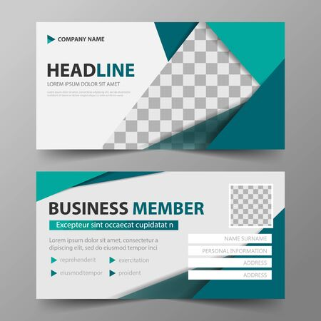 member card corporate business card, name card template, horizontal simple clean layout design template Business banner template for website