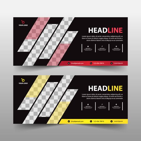 advertising business banner template, horizontal advertising business banner layout template sign set , clean abstract cover header background for website design