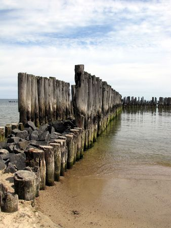 bulwark: old breakwater Stock Photo