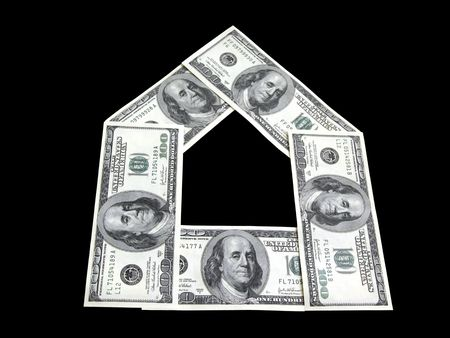 one hundred dollars: one hundred dollars banknotes arranged in form of house Stock Photo