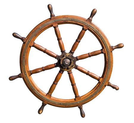 Old seasoned boat steering wheel isolated on white background. Useful for leadership and skillful management concepts. Stock Photo - 1674937