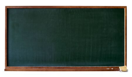 Green blank blackboard with wooden frame, chalktray and eraser. Isolated over white. Add any text, message or greeting you want.