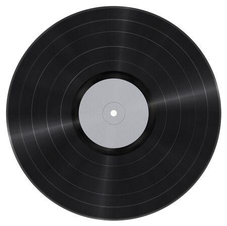 Long Play vinyl record met blanco papier label geïsoleerd op wit
