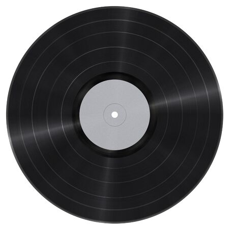 Long play vinyl record with blank paper label isolated on white