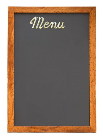 Empty restaurant menu chalkboard isolated on white with clipping path Stock Photo