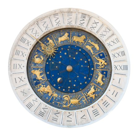Venice clock tower dial isolated on white with clipping path. It was initially designed by Gian Carlo Rainieri in 1493 and reconstructed several times later. Local name is Torre dellOrologio.