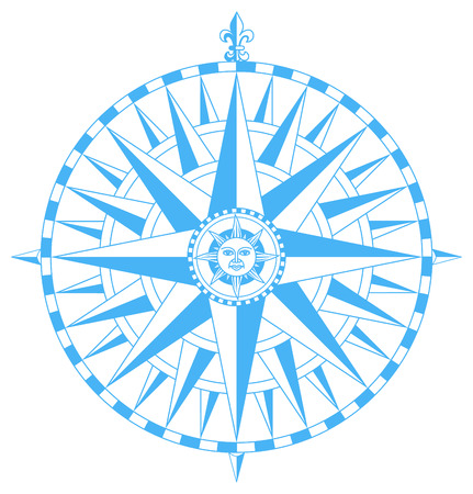 Compass wind rose with Fleur-De-Lys pointing north and sun face in center