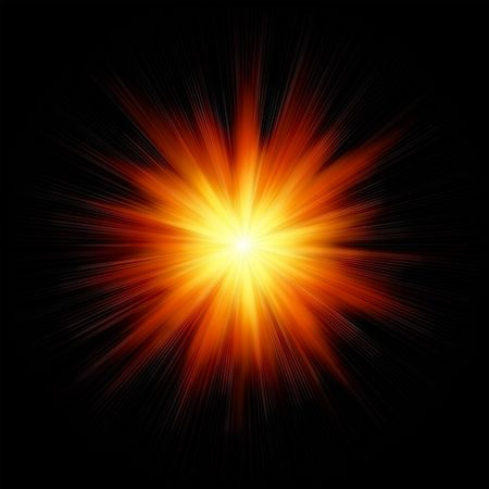 Star burst red and yellow fire on black background Stock Photo