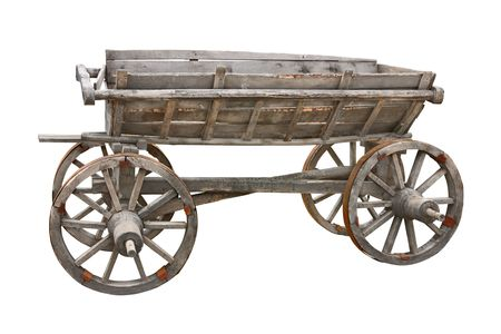 Old wooden wagon isolated on white background with clipping path Stock Photo