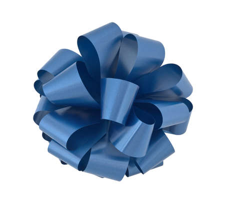 Big blue ribbon bow isolated on white background with clipping path Stock Photo