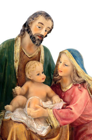 Holy Family closeup, Joseph, Virgin Mary and Baby Jesus figurine