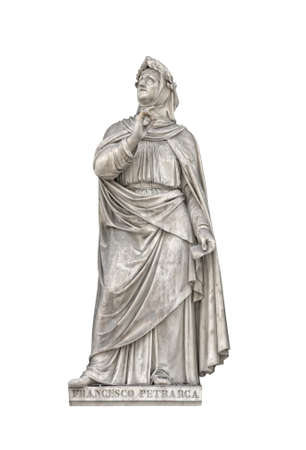 humanist: Statue of Francesco Petrarca in Uffizi Loggia, Florence, Italy. Isolated on white. Created by sculptors of Uffizi lodga in 18th century and now is in public domain.