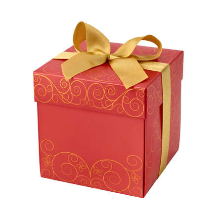 Red gift box with golden ribbon bow photo