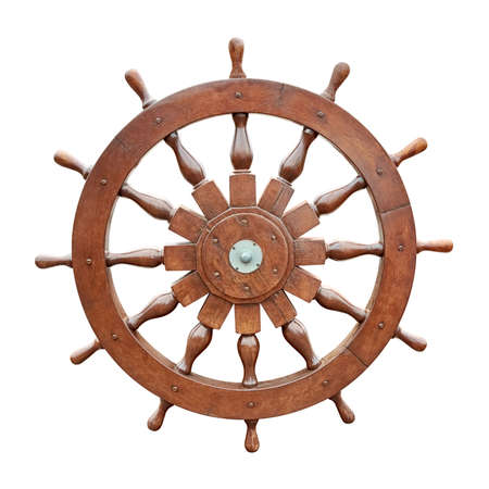 rudder ship: Steering wheel of sailing boat isolated on white background