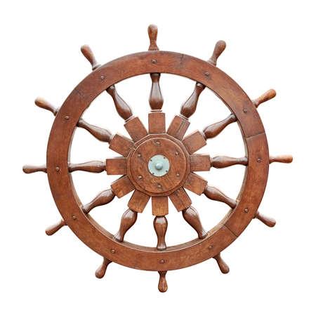 rudder: Volante della barca a vela isolato su sfondo bianco