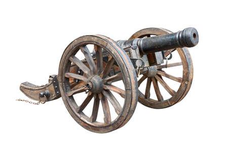 Ancient wheeled cast iron cannon photo