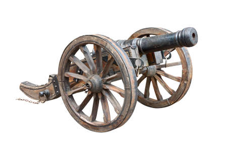 cannon: Ancient wheeled cast iron cannon