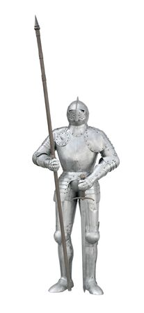 Knight armour stand with spear and sword front view isolated on white  photo