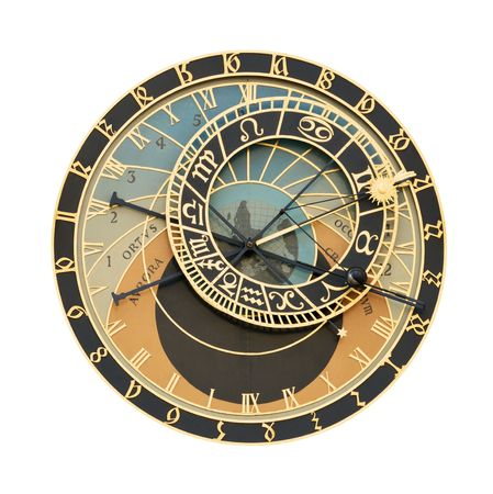 Prague Orloj astronomical clock isolated on white with clipping