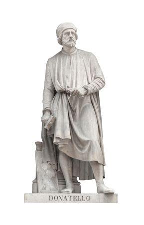 Donatello statue on facade of Uffizi Gallery created by Girolamo Torrini and Giovanni Bastianini in 1848. Isolated on white background