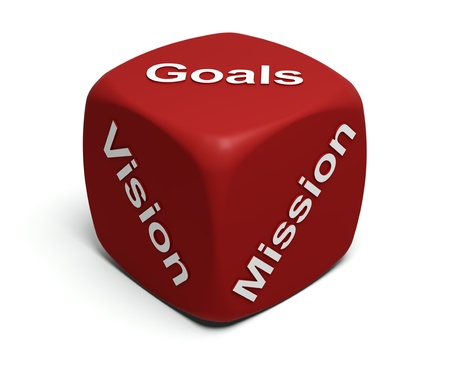 Red Dice with words Vision, Mission, Goals defining every companys Business strategy