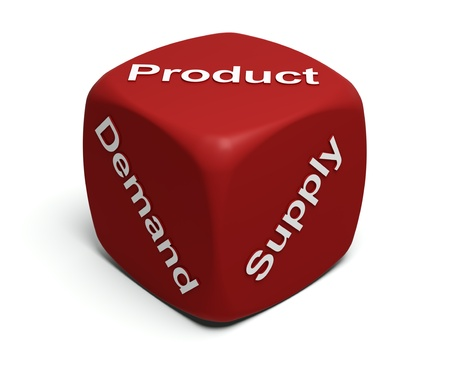 Red Dice with words Demand, Supply, Product on faces Stock Photo