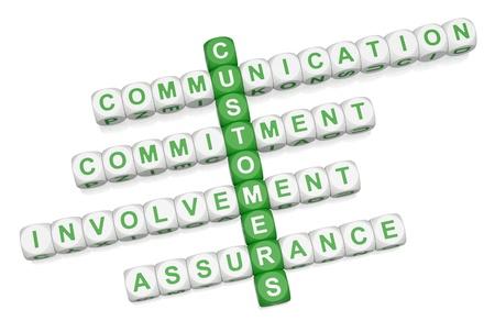 Customer relations crossword 3D on white background Stock Photo