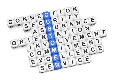 Customer relations crossword on white background 3D render