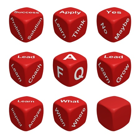 Red Dice Collection with words devoted to Learning