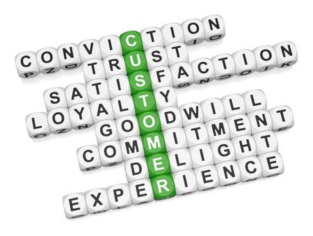 Crossword expérience positive de client sur le rendu 3D de fond blanc