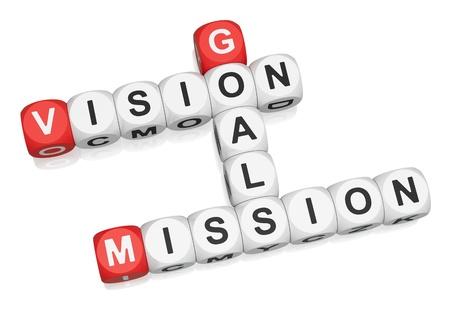 Visie, missie, doelstellingen kruiswoordraadsel op witte achtergrond 3d render