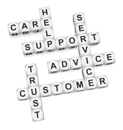 Customer trust crossword on white background 3d render Stock Photo
