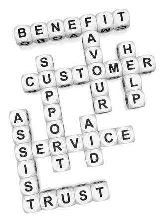 Customer assist crossword on white background 3d render Stock Photo - 9346716