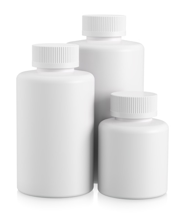 Three white plastic bottles with copy space on white background