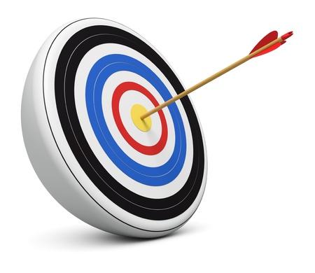 Bulls-Eye archery arrow hit right on target  center over white background 3d render