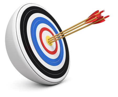 Bulls-Eye three archery arrows hit right on target  center over white background 3d render