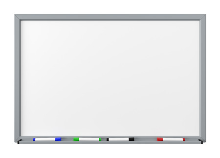 Blank Dry Erase White Board with Gray Metal Frame, Tray and Four Color Felt-Tip Pens Isolated on White Background