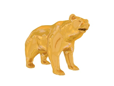 bear market: Golden finance bear Stock Photo
