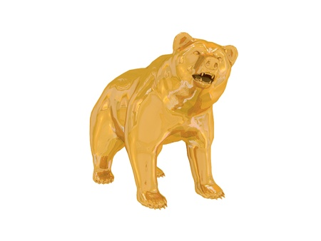 Golden finance bear Stock Photo