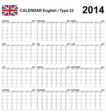 英語のカレンダーの種類 22
