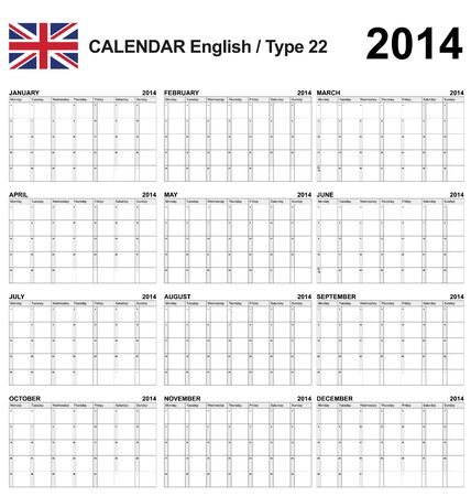 Calendar english type 22 Stock Vector - 17850964