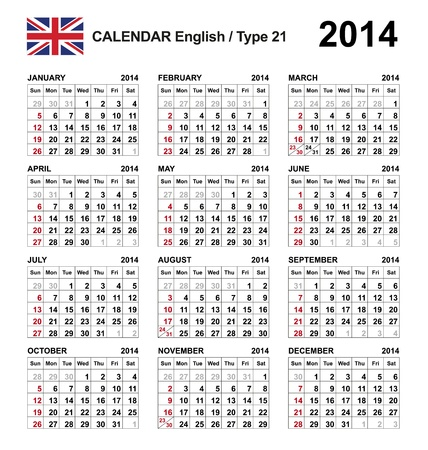 Calendar 2014 english Stock Vector - 17850957