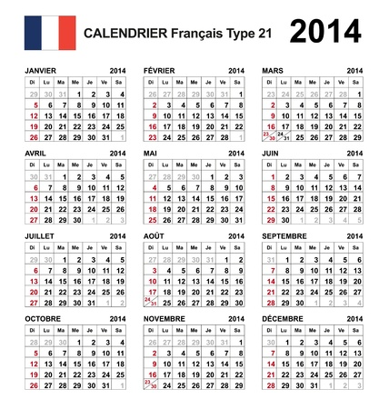 Calendar 2014 french  Stock Vector - 17850966