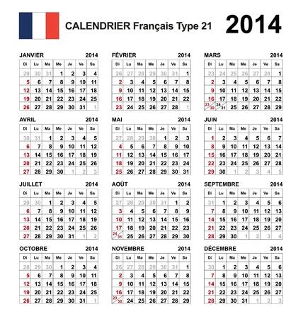 Calendar 2014 french Stock Vector - 17850966