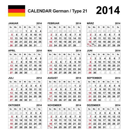Calendar 2014 german  Stock Vector - 17850973